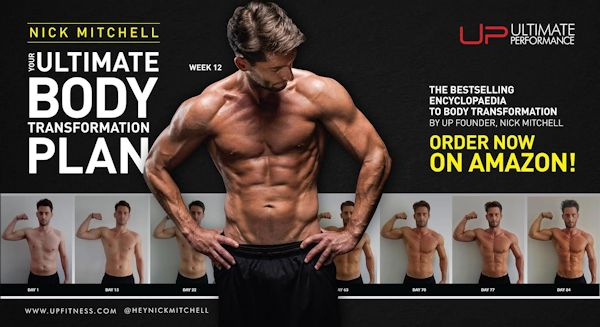 Joe Warner on the cover of Nick Mitchell's Ultimate Body Transformation Plan - available on Amazon